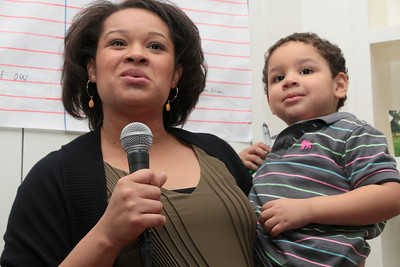 Leah Taylor Pimentel and son.  Leah gave a speech endorsing David.