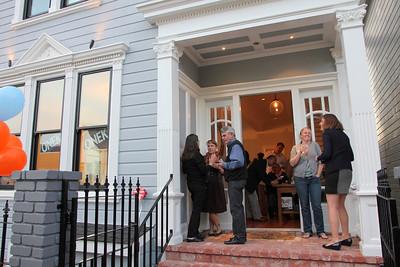 Front of the San Francisco home of David Onek and Kara Dukakis.    Left to right: Laurel Muñiz, Emily Peck, Jose L Muniz.