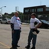 "Two Republican bikers chat following a Republican ""counter-convention"" event in Denver during the Democratic National Convention on Wednesday, August 27, 2008. (Anne-Marie Taylor)"