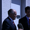 """Former New York Mayor Rudolph Giuliani grants an interview to a reporter at a Republican """"counter-convention"""" event in Denver during the Democratic National Convention on Wednesday, August 27, 2008. (Anne-Marie Taylor)"""