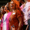 A chorus performs at the Democratic National Convention in Denver Monday, August 25, 2008. (Anne-Marie Taylor)