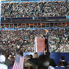 Sen. Barack Obama addresses the crowd as he accepts the Democratic presidential nomination at Invesco Field during the Democratic National Convention in Denver, Thursday, August 28, 2008. (Anne-Marie Taylor Lathrop)