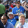 Washington state delegates take it all in philosophically at Invesco Field during the historic presidential nomination acceptance speech of Sen. Barack Obama during the Democratic National Convention in Denver, Thursday, August 28, 2008. (Anne-Marie Taylor Lathrop)