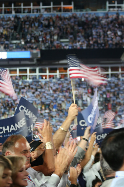 The crowd cheers Sen. Barack Obama as he accepts the Democratic presidential nomination at Invesco Field during the Democratic National Convention in Denver, Thursday, August 28, 2008. (Anne-Marie Taylor Lathrop)