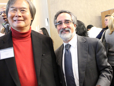 Aaron Peskin, right, featured speaker, former city supervisor and the current chair of the San Francisco Democratic Party.