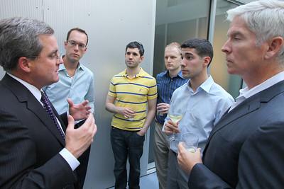 Left to right: Christian Gullette, Michael Stevens, Paul Sousa and Martin Skea listening to Dennis Herrera (left).