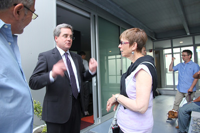 Dennis Herrera talking with Steve Villan (left) Carol Villano (right).  Dennis is a San Francisco Mayoral Candidate and our current City Attorney.  Taken June 20th, 2011.  To learn more, see: http://herreraformayor.com/