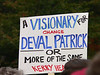 Sign at the Oct. 15 rally for Deval Patrick on Boston Common