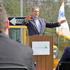MassDevelopment announced on Tuesday a $1.85 million dollar investment for the the phase 4, the final phase, of Devens Jackson Road redevelopment project. Mike Meyers from New England Studios address' the crowd at the event on Devens. SENTINEL & ENTERPRISE/JOHN LOVE