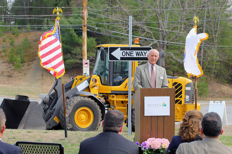 MassDevelopment announced on Tuesday a $1.85 million dollar investment for the the phase 4, the final phase, of Devens Jackson Road redevelopment project.  President of Mount Wachusett Community College Dan Asquino address' the crowd at the event on Devens. SENTINEL & ENTERPRISE/JOHN LOVE