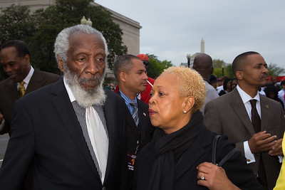 Comedian and civil rights activist Dick Gregory and Rev. Dr. E. Gail Anderson Holness pastor at Christ Our Redeemer AME Church in Washington D.C. April 16, 2013 at the Emancipation Day Parade.