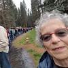 Long line of friendly souls in the rain