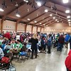 Large hall was filled, probably 1500 people.