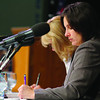 State Senator Jennifer Flanagan takes some notes at Mount Wachusett Community College drug and treatment hearing on Monday morning. SENTINEL & ENTERPRISE/JOHN LOVE