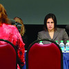 State Senator Jennifer Flanagan listens to Traci Kasparian MBA, Psy. D., C.N.D.A.I. as she address the panel, which Flanagan was a part of,  at Mount Wachusett Community College drug and treatment hearing on Monday morning. SENTINEL & ENTERPRISE/JOHN LOVE