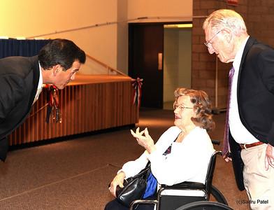 L-R, County Board Member Dirk Enger, Helen Westlake, Don Westlake
