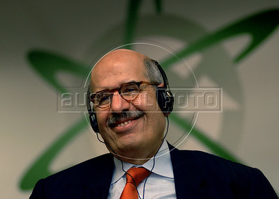"Egyptian Mohamed El-Baradei, Director of the International Atomic Energy Agency (IAEA) smiles during the ""'Nuclear Energy, a Sustainable Alternative Seminar?"" at the Rio de Janeiro Industries Federation (FIRJAN), Rio de Janeiro, Brazil, Dec. 7, 2007.  El-Baradei made a three-day visit to Brazil. (AUSTRAL FOTO/RENZO GOSTOLI)"