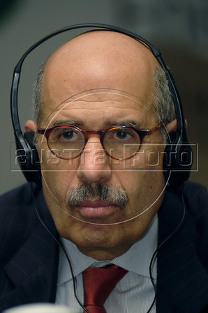 "Egyptian Mohamed El-Baradei, Director of the International Atomic Energy Agency (IAEA) listens to journalists during the ""'Nuclear Energy, a Sustainable Alternative Seminar?"" at the Rio de Janeiro Industries Federation (FIRJAN), Rio de Janeiro, Brazil, Dec. 7, 2007.  El-Baradei made a three-day visit to Brazil. (AUSTRAL FOTO/RENZO GOSTOLI)"