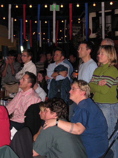 Captivated crowd watching John McCain's speech.