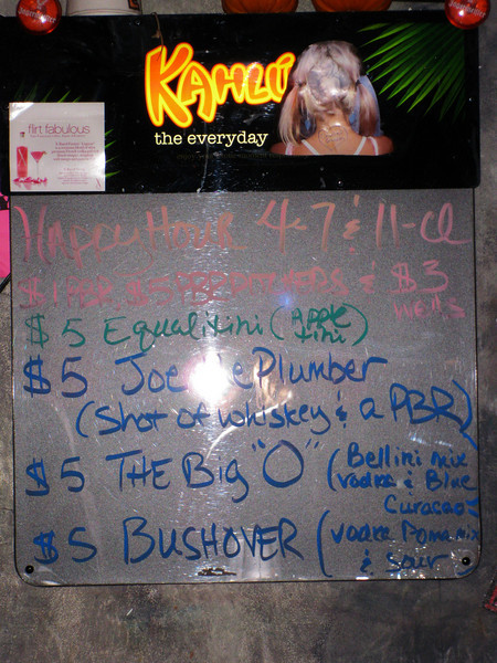 Drink specials for election night.