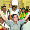 SECOND TERM. Cebu City Mayor Mike Rama and his team celebrate during the proclamation of elected officials at the Social Hall of the Cebu City Legislation building. Rama won a second term after beating Rep. Tomas Osmena in a tightly fought contest. (Photo by Arni Aclao of Sun.Star Cebu)