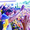 NEW MAYOR. Delos Reyes JVR the new proclaimed the Mayor of Talisay City waves to more than five Thousand supporters flack to Talisay City Hall to witness the proclamation rites.<br /> foto: Alex Badayos