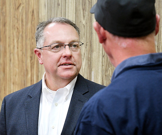 Republican Anderson City council District 3 incumbent Jon Bell gets congratulation after winning his re-election bid.