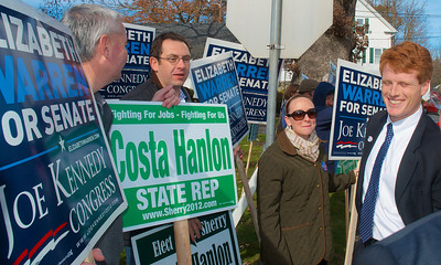 110612, Taunton, MA - Joe Kennedy III greets supporters outside the polls at the Westville Congregational Church. Photo by Ryan Hutton