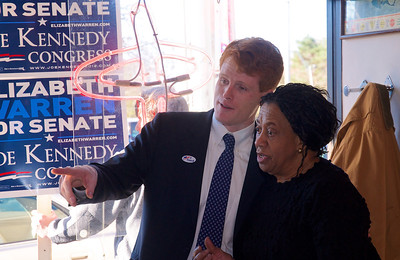 110612, Newton, MA - Joe Kennedy greets supporters inside Johnny's Luncheonette on Langley Road on election day.  Here he hugs Thomasina Dyett of Newton. Photo by Ryan Hutton