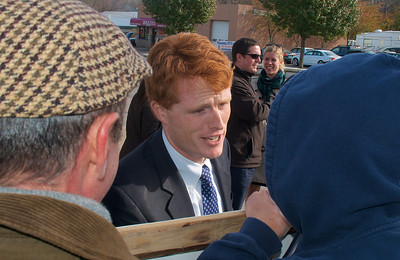 110612, Taunton, MA - Joe Kennedy III greets supporters outside the polls at the Westville Congregational Church. Herald photo by Ryan Hutton