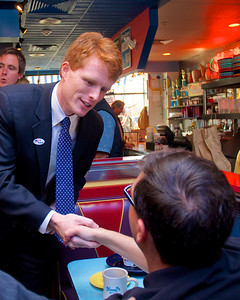 110612, Newton, MA - Joe Kennedy greets supporters inside Johnny's Luncheonette on Langley Road on election day. Photo by Ryan Hutton
