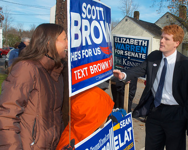 110612, Taunton, MA - Joe Kennedy III greets supporters of his opponent Sean Bielat outside the polls at the Westville Congregational Church. Photo by Ryan Hutton