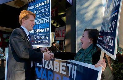 110612, Newton, MA - Joe Kennedy thanks a volunteer outside Johnny's Luncheonette on Langley Road on election day. Photo by Ryan Hutton