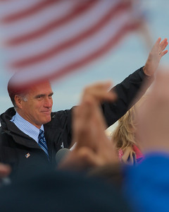 110312, Porthsmouth, NH - Presidential candidate Mitt Romney speaks to a crowd at a rally at Portsmouth International Airport on Saturday morning. Photo by Ryan Hutton