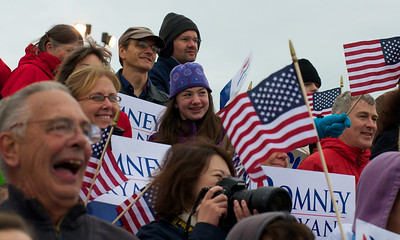 110312, Porthsmouth, NH - Supporters show their love for presidential candidate Mitt Romney at a rally at Portsmouth International Airport on Saturday morning. Photo by Ryan Hutton
