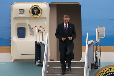 Nov. 22, 2011 Manchester, N.H. - President Barack Obama descends the stairs of Air Force One after it stopped at Manchester Airport. The President was on his way to Manchester High School to give a speech on the American Jobs Act. By Ryan Hutton