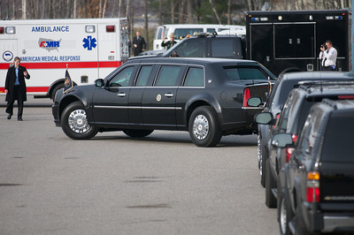 "Nov. 22, 2011 Manchester, N.H. - President Barack Obama's armored Cadillac limousine nicknamed ""The Beast"", pulls away from Air Force One after returning Obama to his plane at Manchester Airport. Obama was in Manchester to give a speech on the American Jobs Act at Manchester High School. By Ryan Hutton"