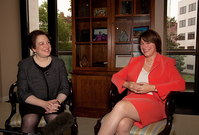 Supreme Court nominee Elena Kagan meets with Senator Amy Klobuchar (D-MN). Kagan was on Capitol Hill for a round of informal meet-and-greets with key Senators on Capitol Hill in Washington DC. on May 13, 2010. (Photo by Jeff Malet)