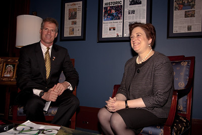 Supreme Court nominee Elena Kagan meets with Senator Scott Brown (R-MA). Kagan was on Capitol Hill for a round of informal meet-and-greets with key Senators on Capitol Hill in Washington DC. on May 13, 2010. (Photo by Jeff Malet)