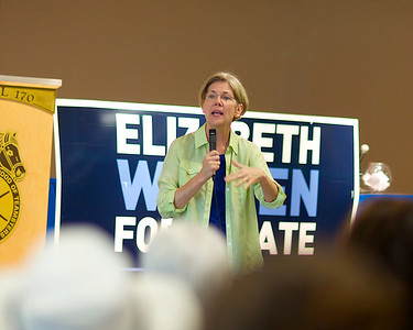 071512, Worcester, MA - Elizabeth Warren speaks to a crowd of supporters and independent voters at a campagin stop at the Teamsters Local 170 Hall in Worcester on Sunday. Herald photo by Ryan Hutton