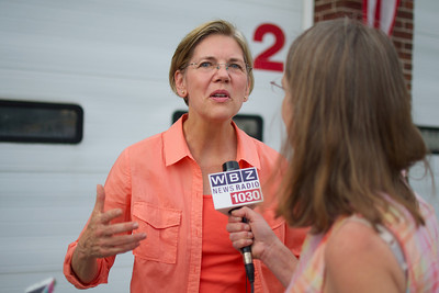 070312, Rutland, MA - Senatorial candidate Elizabeth Warren speaks to the press during a campagin stop at the Rutland Chicken BBQ for the town's 4th of July celebrations. Herald photo by Ryan Hutton