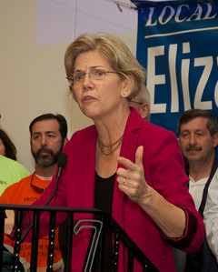 102712, Boston, MA - Senatorial candidate Elizabeth Warren speaks at the Iron Workers Local Union N.o 7 Hall on Old Colony Avenue at a campagin stop on Saturday. Herald photo by Ryan Hutton