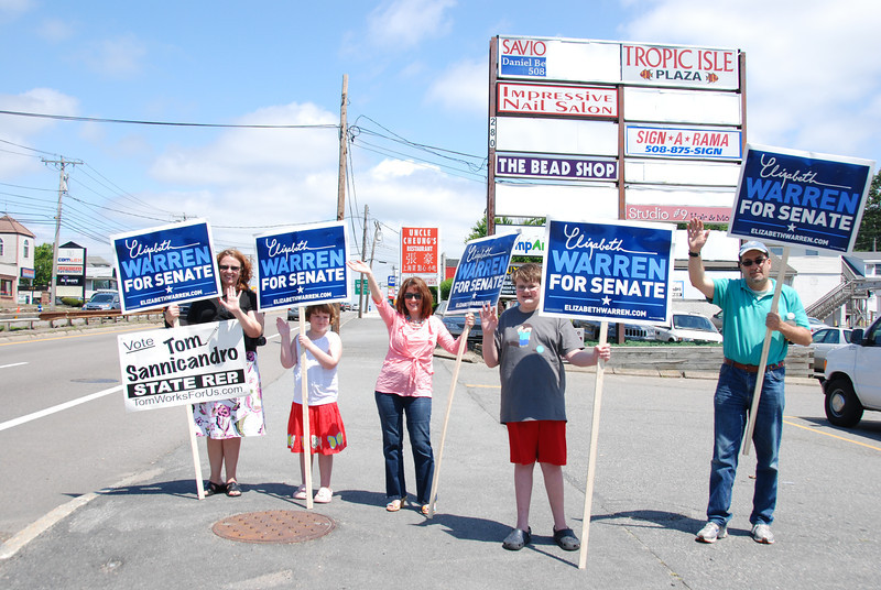 Volunteers do visibility for Elizabeth Warren on Rte. 9