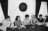 Conferencia de prensa en la Asociacion de Corresponsales Extranjeros en Mexico sobre desaparecidos y derechos Humanos en Argentina, Mexico DF, Mexico, 1980. Participan Carlos González Garland, secretario, Nelly Pereira, Bergman. (Austral Foto/Renzo Gostoli)