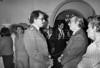 Gregorio Selser, der, periodista argentino, conversa con el presidente de Nicaragua Daniel Ortega, izq, durante recepcion en la embajada nicaraguense en Mexico, Mexico DF, Mexico, 1984. (Austral Foto/Renzo Gostoli)