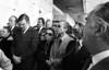 Entierro del ex presidente Hector J. Campora, Mexico D.F. Mexico, Diciembre 20, 1980. En la foto: Luis G. Basurto, izq, Juan Raul Ferreira, politico uruguayo, 2o. de izq, familiares, (Austral Foto/Renzo Gostoli)
