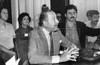 Conferencia de prensa del COSPA en la FELAP, Mexico D.F, Mexico, Setiembre, 1982. En la foto: Ricardo Obregon Cano, centro hablando,  (Austral Foto/Renzo Gostoli)