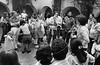 Acto politico de exilados argentinos en iglesia, Mexico DF, Mexico, noviembre 11, 1979. En la foto: Noe Jitrik, izq, Susana Miguens, centro, Alfredo Guevara, der, Angelica Escayola, der,  (Austral Foto/Renzo Gostoli)