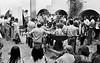 Acto en iglesia de ciudadanos argentinos exilados, Mexico DF, Mexico, Noviembre 11, 1979. En la foto: Angelica Escayola, izq. leyendo sobre un banco. (Austral Foto/Renzo Gostoli)