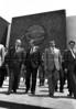 Raul Alfonsin, centro, presidente de Argentina, visita el Palacio Legislativo, Mexico DF, Mexico, marzo 1985. (Austral Foto/Renzo Gostoli)